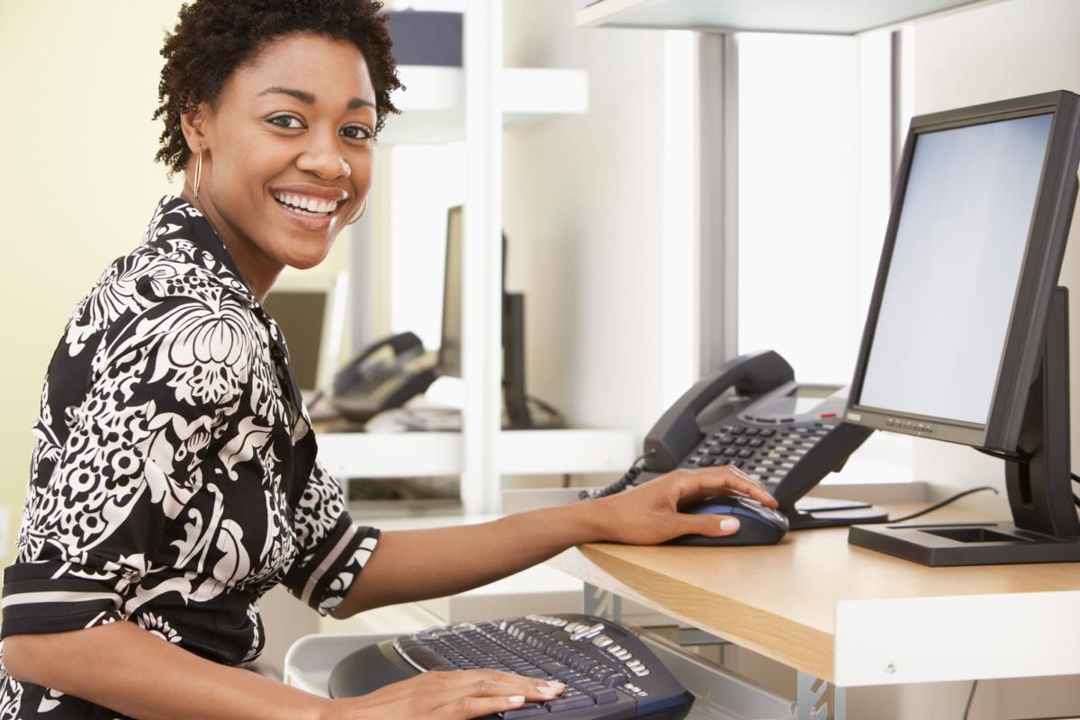 Black woman getting certification
